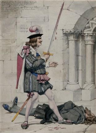 """Sketch del asesinato de Henry VI en la Torre por Ricardo Duque de Gloucester, después """"Rey Ricardo III"""" - Richard Dadd, Bethlem Hospital (1853)"""