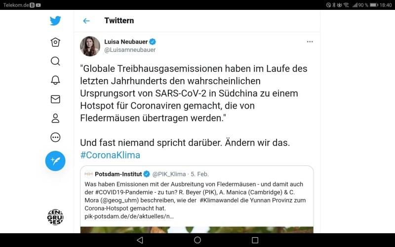 Luisa Neubauer über den Zusammenhang von Corona und Klimawandel.