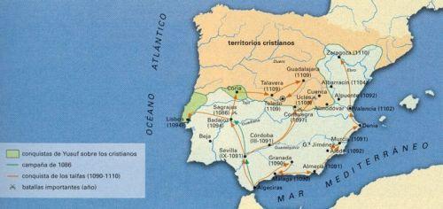 Mapa de taífas y reinos cristianos tras batalla de Zalaca