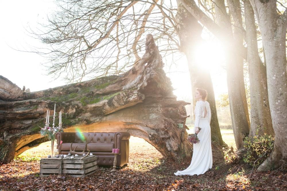 Mariage dans une forêt sur le thème de l'hiver