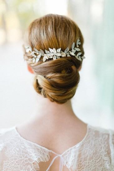 """Peigne de mariée """"Angèle"""" avec estampes végétales et cristaux"""