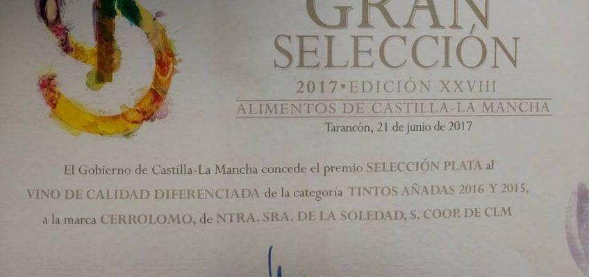 Medalla dePlata Gran Selección 2017 para Cerrolomo Tinto
