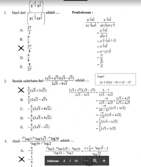 Pembahasan soal latihan snmptn matematika dasar (2). Soal Ujian Matematika Lasopavin
