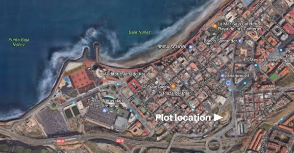 Location map of the huge new building project in Guanarteme, Las Palma