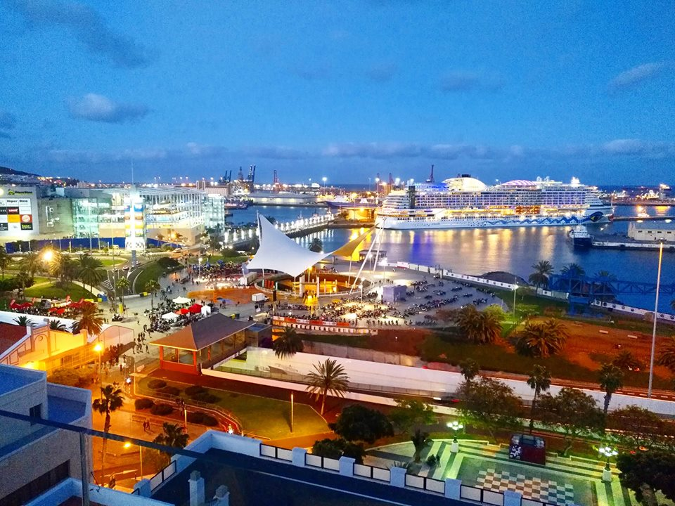 The view from the rooftop terrace bar at the BEX hotel in Las Palmas de Gran Canaria