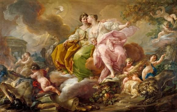 Alegoría de la Justicia y la Paz (1753 - 1754), de Giaquinto Corrado.