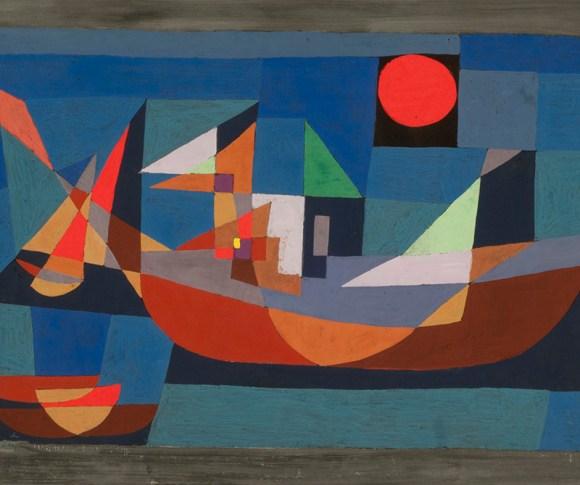 Formas geométricas. Barcos en reposo, 1927, Paul Klee.