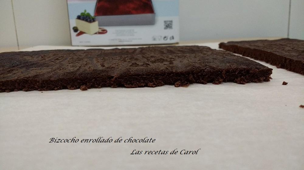 Bizcocho enrollado de chocolate