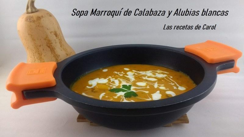 Sopa marroquí de calabaza y alubias