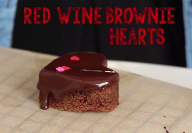vino tinto brownie hearts + un video del día de GALentine