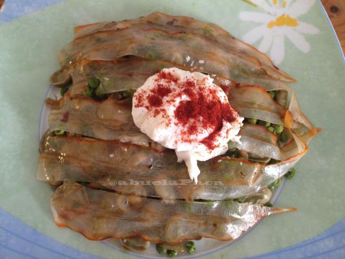 Habitas, guisantes y huevos con panceta ibérica0 (0)