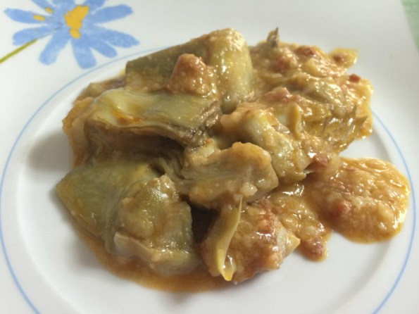 alcachofas con jamon y almendras blog