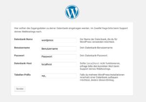 Eingabe MySQL Daten WordPress Installation