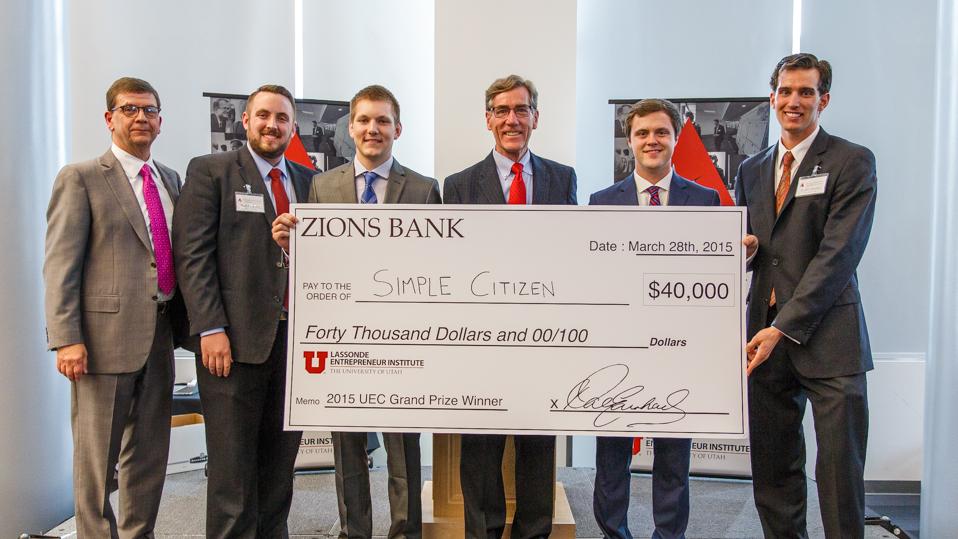 U student startup, Simple Citizen, wins the 2015 Utah Entrepreneur Challenge.