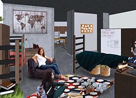 Mockup of loft available to students at Lassonde Studios.