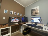 "Spencer Schwarz: ""I handcrafted the wooden desk as an addition to my previous desk. I wanted to have 2 separate setups, that way my brain can differentiate between play time and work time. This setup has my ultra wide, where I do homework and create videos for my internship."""