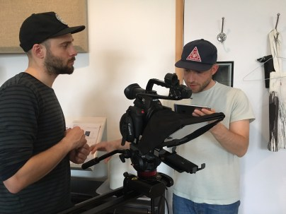 """<a href=""""http://www.parkdistrict.co.uk""""target=""""_blank"""">Ben and Phil</a> setting up the Autocue"""