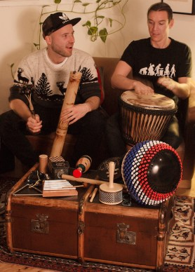 Drumming with the neighbours: Phil and Neil