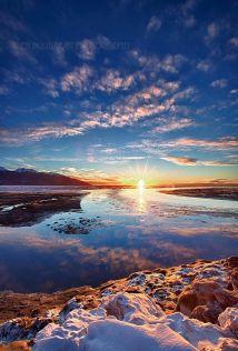 A beautiful winter sunset along Turnagain Arm