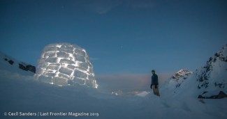 Building an igloo in the early spring.