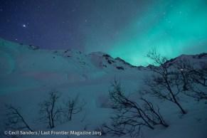 Aurora and stars on a winter night.