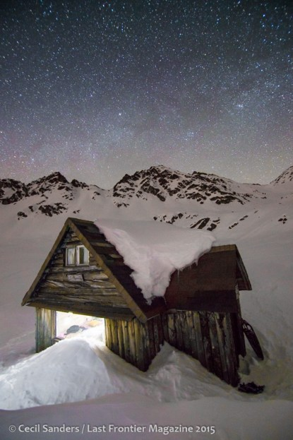Mining cabin and stars. www.cecilsandersphotography.com