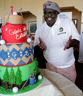 Cedric with a decorated golf cake from Bread Basket