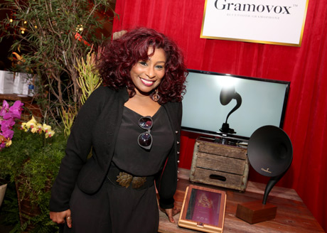 Siinger Chaka Khan at the Distinctive Assets Official Backstage Grammy gifting lounge.
