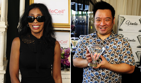 Khandi Alexander, Rex Lee at GBK Primetime Elmmy gift lounge