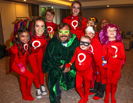 Jack Black hangs with Miracle kids superheroes Angelica, Jessica, Logan, Eileen, Asher, Caden, Maverick, Shemar and Michaela. Photo by Igor Spektor.
