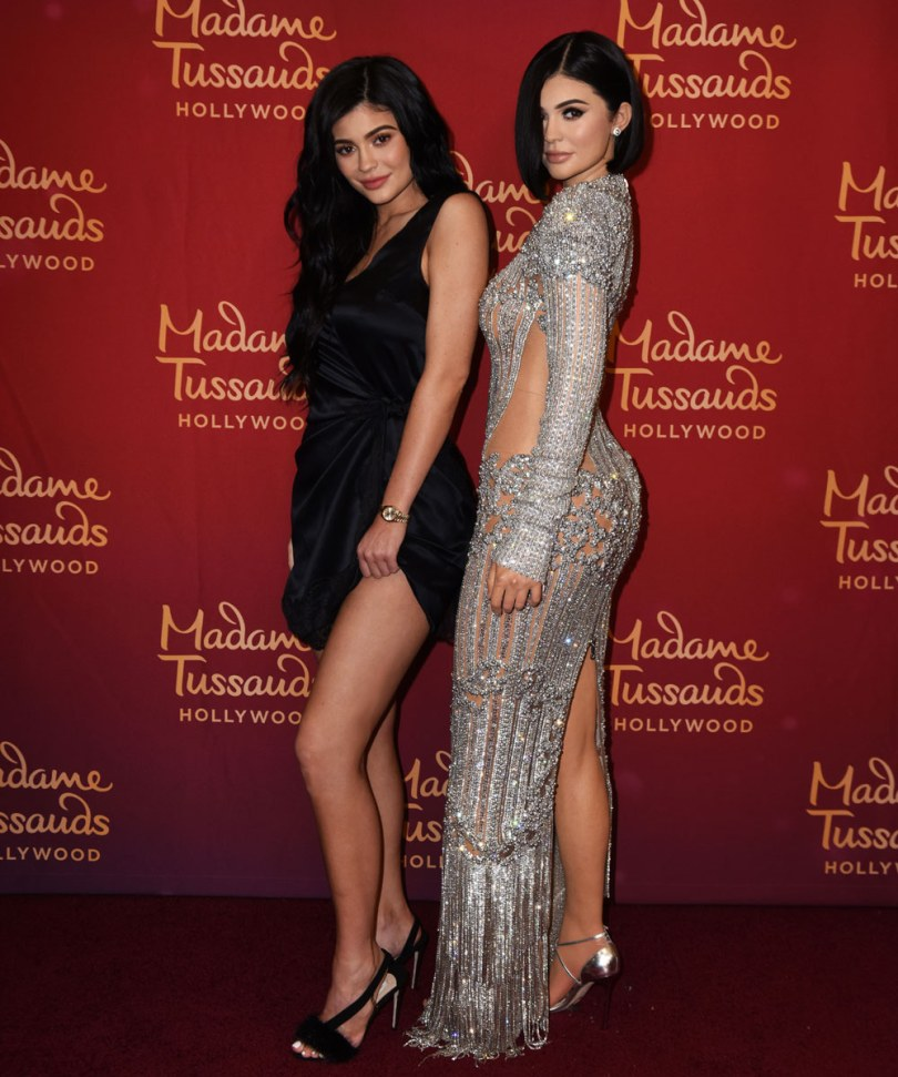 Kylie Jenner with wax figure at Madame Tussauds