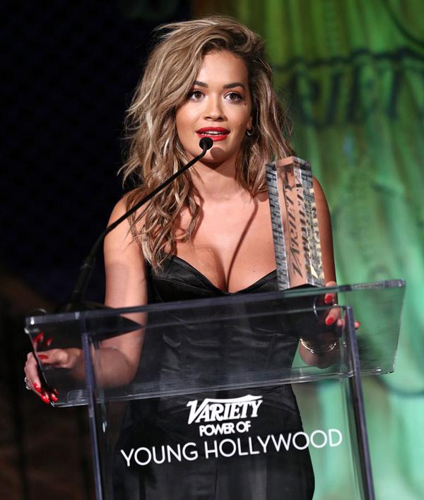 Rita Ora accepting Award