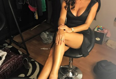 Sofia Milos wearing Erica Cuini shoes on set of her new show.