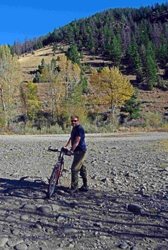 """""""My first time mountain biking in the mountains,"""" commented Tadd, although we didn't get very far before the trail went up and turned into another backcountry horse trail."""