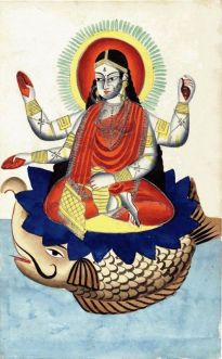 Ganga being carried by Makara