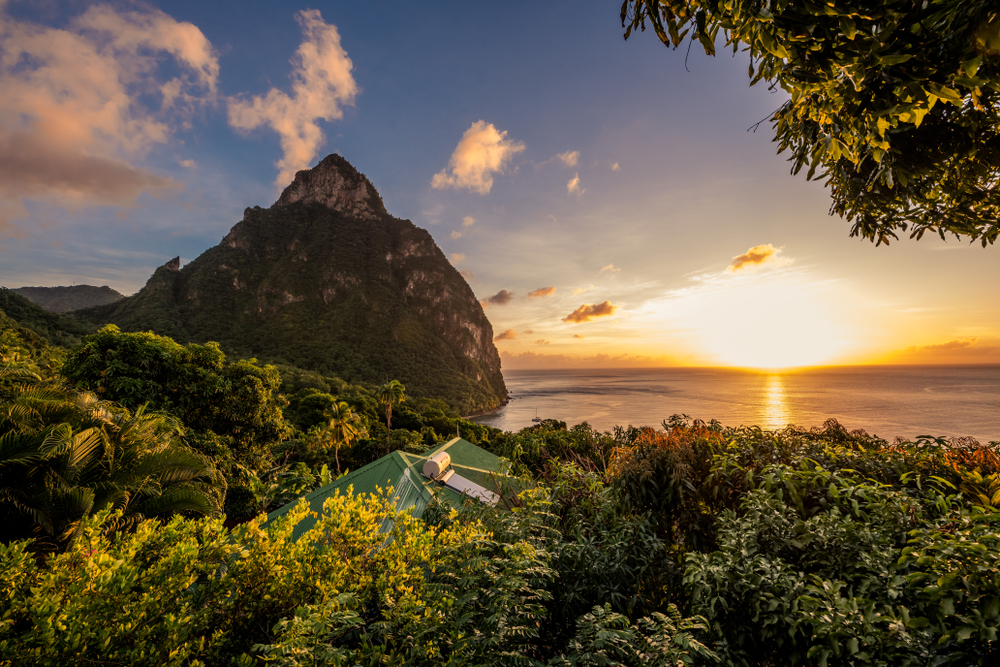 Sunset over the Pitons in Castries, St. Lucia