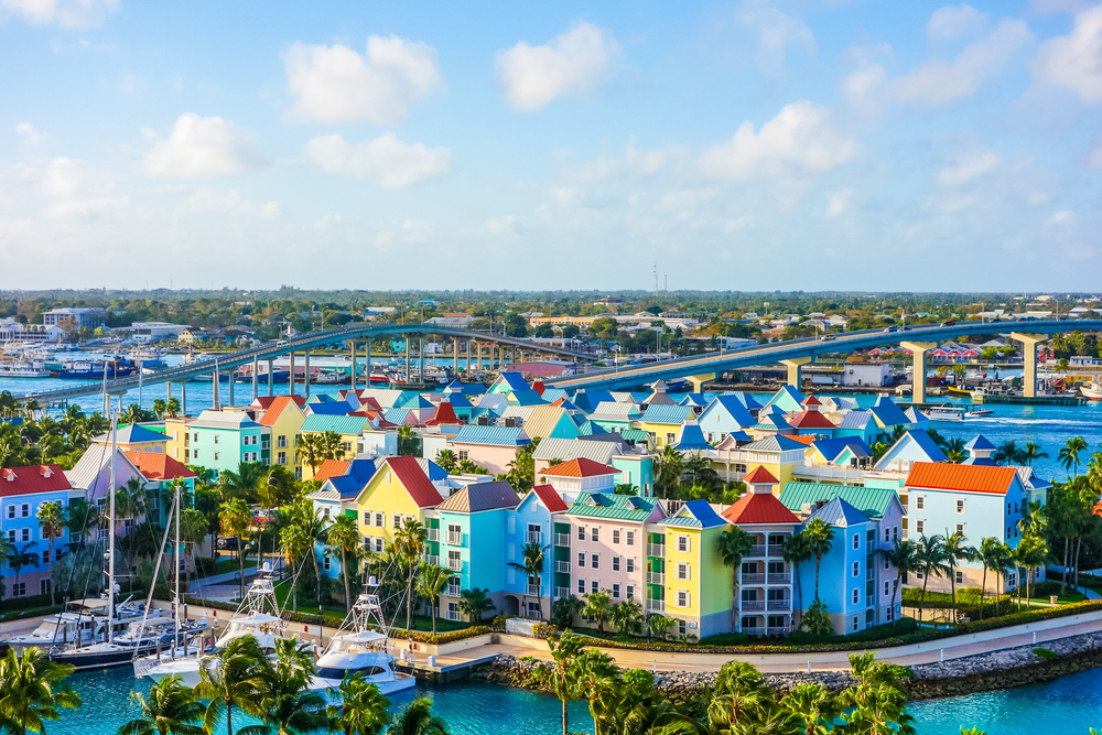 Aeiral view of multi-colored waterfront buildings in Nassau, Bahamas