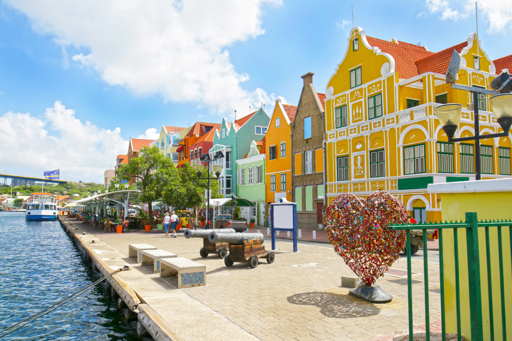 Row of colorful Dutch-style buildings on the water in Willemstad, Curacao