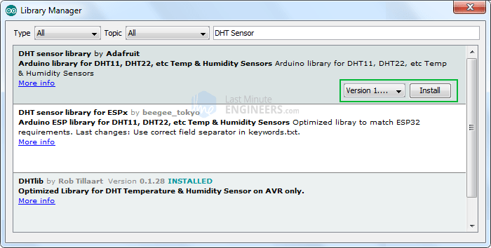 Adafruit DHT library Installation