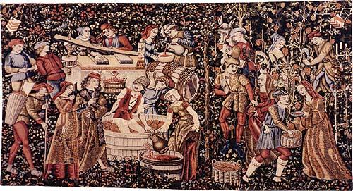 Arazzo medievale rappresentante scene di vendemmia
