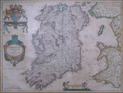 Irlanda Hibernia Regnvm vulgo Ireland Tratta dal Atlas Major di Johannes Blaeu 1638