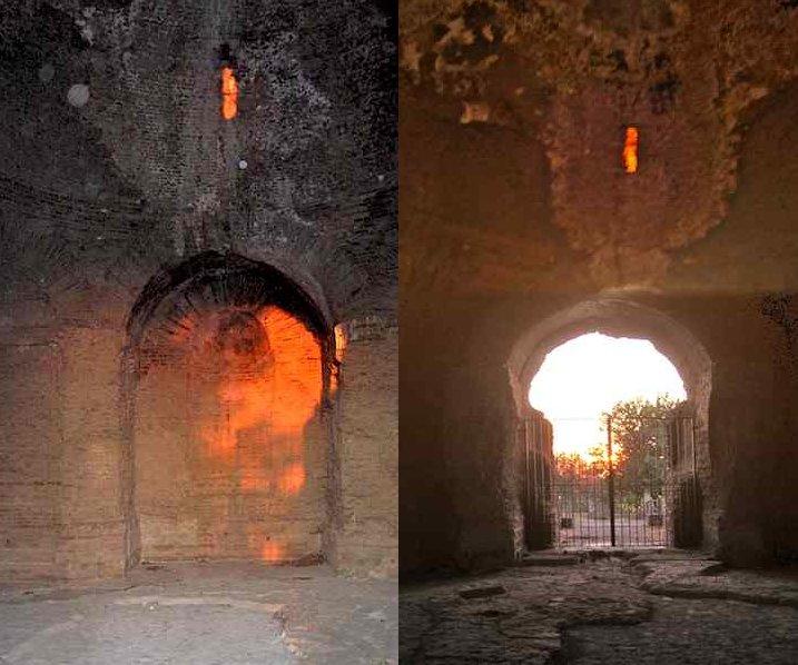 Solstizio d'estate - A sinistra: il Sole illumina la nicchia con abside, di fronte all'ingresso, e la lama di luce colpisce la cupola in corrispondenza della feritoia interna dei condotti D-E. A destra: il Sole entra dalla porta principale e dalla feritoia interna del condotto B (foto di Marina De Franceschini)