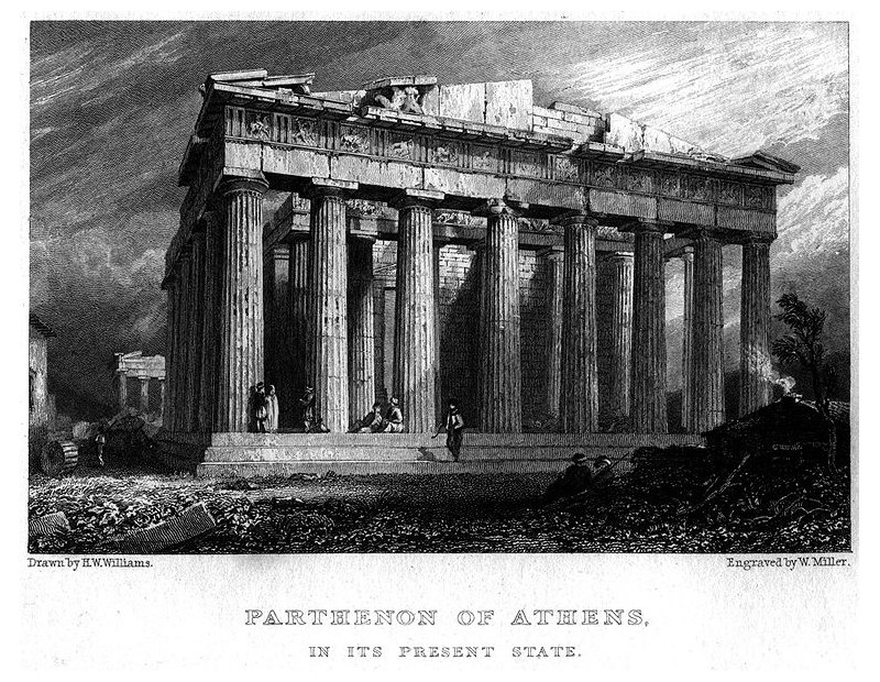 Partenone in un'incisione di William Miller su disegno di H.W.Williams, 1829