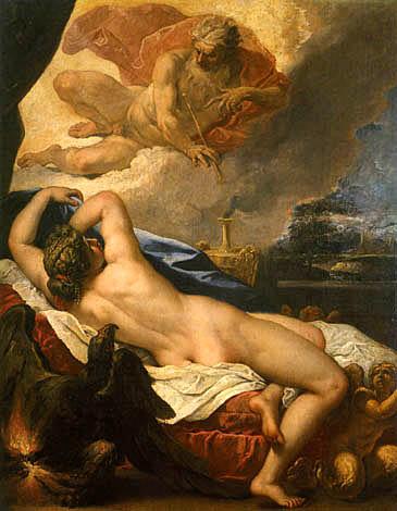 Zeus e Semele, dipinto di Sebastiano Ricci, 1695 ca, Firenze, Uffizi.