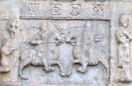 Duello tra Odoacre e Teodorico raffigurato nei pannelli ad altorilievo sulla facciata di San Zeno, Verona (XII secolo)