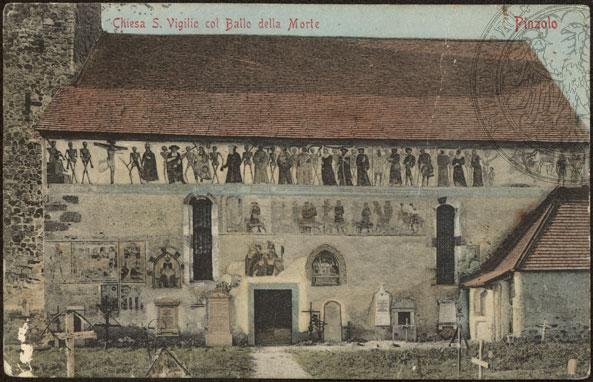 Veduta della chiesa di San Vigilio a Pinzolo(TN) in una cartolina d'epoca (cliccare per l'ingrandimento)