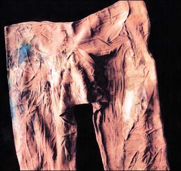 Pantaloni da uomo Pazyryk, con tracce visibili di rammendo. Destra - emboidery colorato trovato su tessuti Pazyryk. Istituto di Archeologia ed Etnografia, Filiale siberiana dell'Accademia Russa delle Scienze