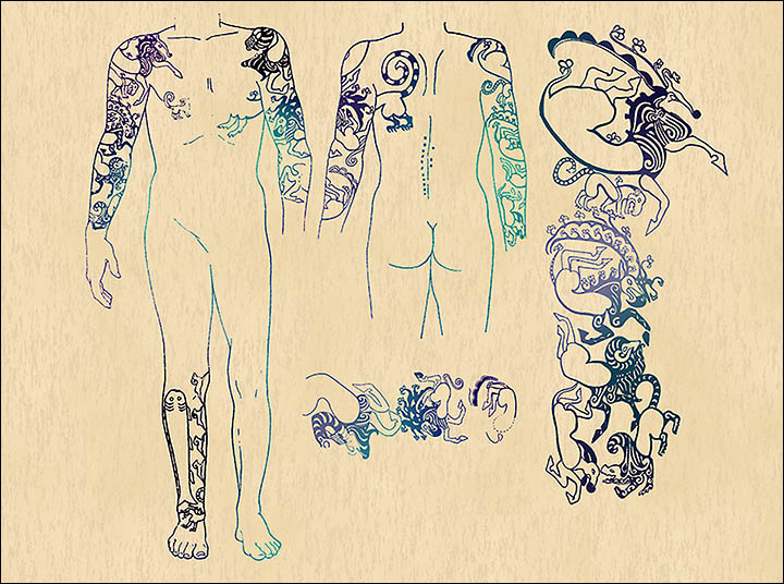 "Il ""capo"" tatuato. Disegni di Elena Shumakova, Institute of Archeology and Ethnography, Siberian Branch of Russian Academy of Science"