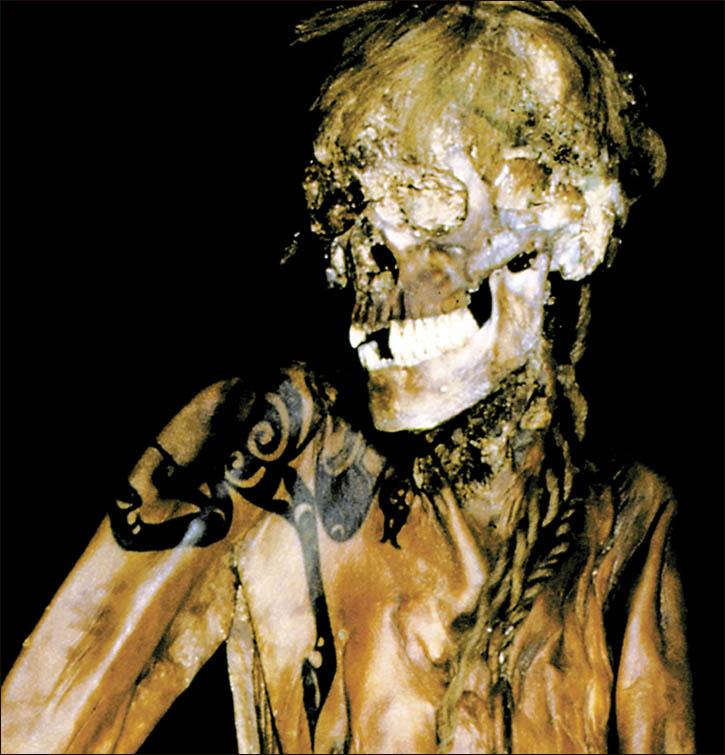 La mummia di un guerri ero con il suo splendido tatuaggio