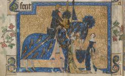 Sir Geoffrey Luttrell III raffigurato nella miniatura del folio 202v delSalterio Luttrell. Le insegne della casata di Irnham sono riportate sugli abiti della moglie e della nuora, noncheè sull'armatura, lo scudo e persino sulla gualdrappa del cavallo.